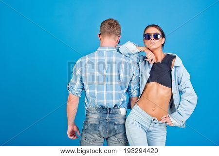 Couple Of Denim Woman And Man In Glasses