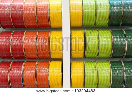 The cord of rubber tube on the showing case.The colorful of rubber tube cord.