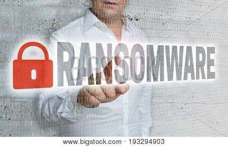 Ransomware with matrix and businessman concept picture