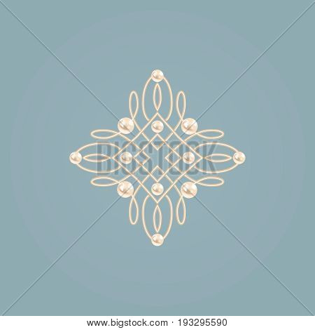 Elegant golden knot sign.. Blue and beige pastel illustration beautyful calligraphic flourish with pearls. Vector
