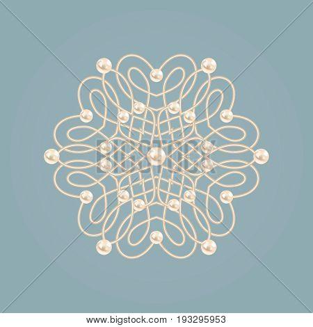 Elegant golden floral sign. Blue and beige pastel illustration beautyful flower with pearls. Vector illustration