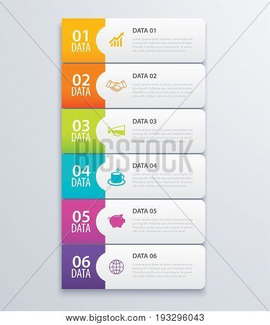 6 infographic tab index banner design vector and marketing template business. Can be used for workflow layout diagram annual report web design. Business concept with steps processes.