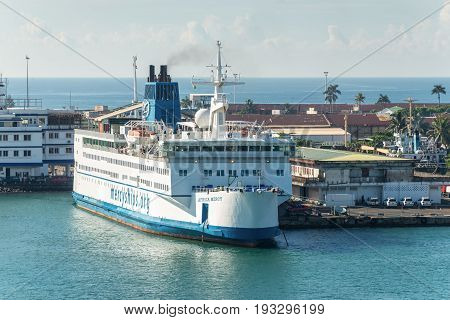 Toamasina Madagascar - December 22 2017: Hospital ship Africa Mercy in the port of Toamasina (Tamatave) Madagascar. The Africa Mercy is currently the largest civilian hospital ship in the world.