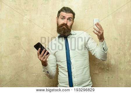 Man Or Hipster Compare Mobile Phone And Smartphone
