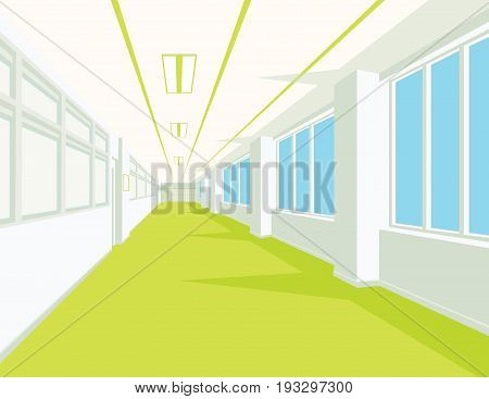 Interior of school hall with yellow floor, windows and columns. Vector illustration. Corridor of college or university in flat style. Simple perspective view of empty space. Scene for your artwork or design.