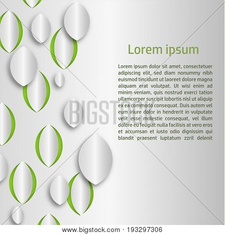 A background with stylized leaves and a text space for your information posts or other projects. EPS 8