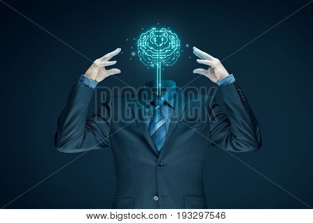 Brain with printed circuit board (PCB) design and businessman representing artificial intelligence (AI), data mining, genetic programming, machine learning, deep learning, neural networks and another modern computer technologies concepts.