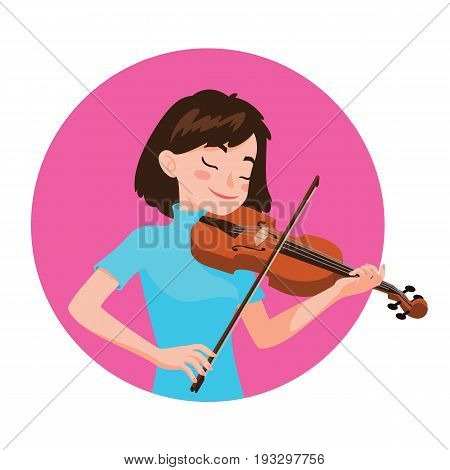 Musician playing violin. Girl violinist is inspired to play a classical musical instrument. Vector illustration in cartoon style in the pink circle on white background for your design and print.