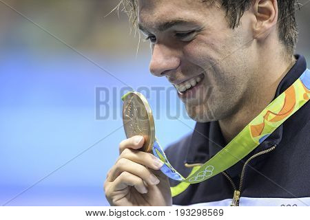 Rio de Janeiro Brazil - august 13 2016: PALTRINIERI Gregorio (ITA) of Italy during men 1500 metre freestyle of the Rio 2016 Olympics at medal ceremony