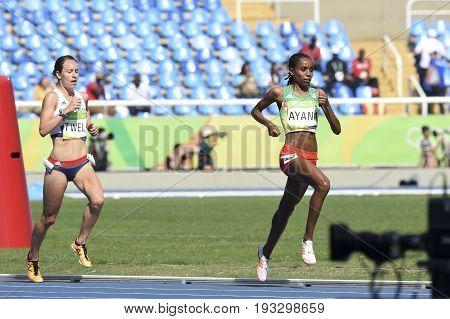 Rio de Janeiro Brazil - august 16 2016: Runner AYANA Almaz (ETH) during 5000m women's run in the Rio 2016 Olympics