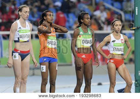Rio de Janeiro Brazil - august 16 2016: Runner Genzebe Dibaba (ETH) during 1500m Women's run in the Rio 2016 Olympics Games
