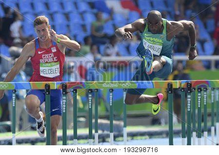 Rio de Janeiro Brazil - august 18 2016: Runner Luiz Alberto de ARAUJO (BRA) during Men´s Decathon (110m Hurdles) in the Rio 2016 Olympics Games