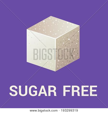 Sugar free icon flat Vegan eco product label for Fitness product