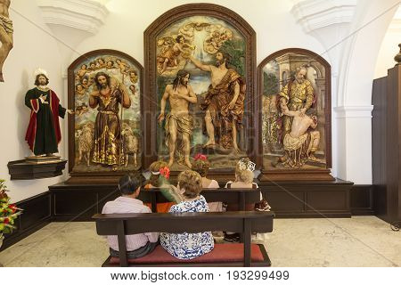 El Rocio Spain - June 2 2017: Pilgrims in the hermitage of El Rocio during the Romeria 2017. Province of Huelva Andalusia Spain