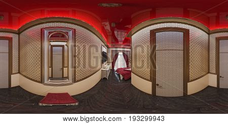 3d illustration spherical 360 degrees, seamless panorama of hall hotel room in a traditional Islamic style. Beautiful deluxe room background interior view decorated with arabian motifs.