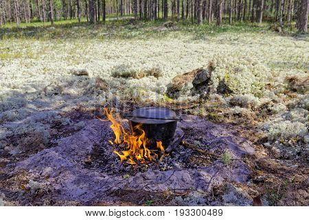 Smoked tourist kettle over the fire among the moss in the tundra