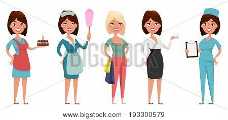 Cute cartoon character in different situations. Housewife maid shopper business woman and nurse. Set of vector illustrations.