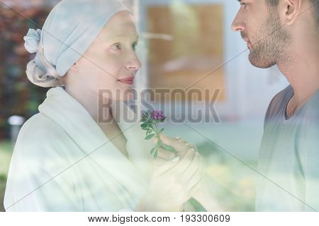 Handsome man giving a fresh flower to sick young woman
