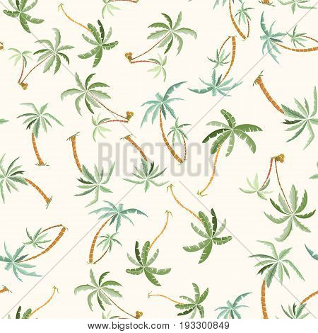Seamless tropical palms pattern. Summer endless hand drawn vector background of palm trees can be used for wallpaper, wrapping paper, textile printing.