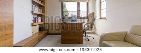 Panoramic photo of space for work at home