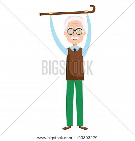 cute grandfather with cane avatar character vector illustration design