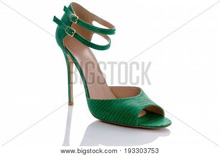 green sandals with original double clasp printed