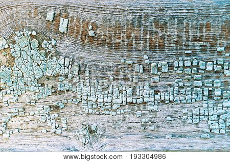 Peeling paint on the wooden texture background. Peeling paint texture. Texture background of blue texture peeling paint on the wooden texture surface. Texture of blue peeling paint on the wooden texture background. Grunge texture surface