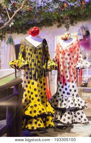 El Rocio Spain - June 1 2017: Traditional spanish flamenco dress for sale in El Rocio during the Romeria 2017. Province of Huelva Almonte Andalusia Spain