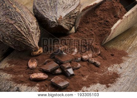 cocoa pods with cocoa beans cocoa powder and chocolate block on wooden table