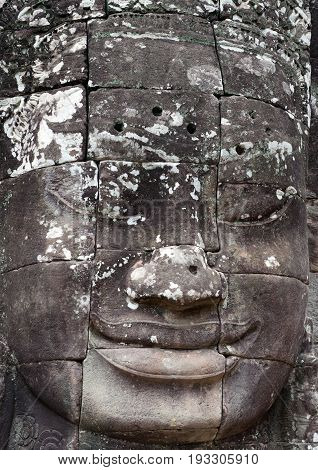 Ancient bas-relief of famous Prasat Bayon temple (late 12th - early 13th century) in Angkor Thom, Cambodia