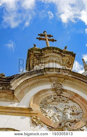 Architectural details of the tower and facade of St. Francis of Assisi Church in Ouro Preto Minas Gerais