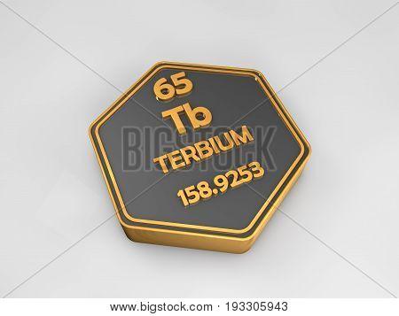 Terbium - Tb - chemical element periodic table hexagonal shape 3d render