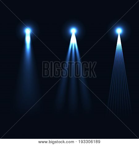 Set of light flashes, different shapes and projections gleaming. Vector elements.
