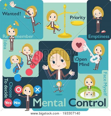Set of various poses of blond hair woman White Mental & volition