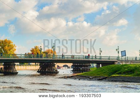 ST PETERSBURG RUSSIA - OCTOBER 3 2016. Ioannovsky or St John gates and Ioannovsky bridge to the Peter and Paul fortress in St Petersburg Russia. St Petersburg Russia landmarks