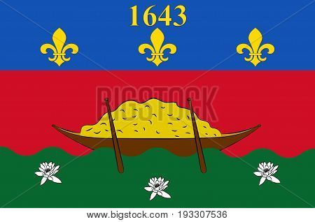 Flag of French Guiana is an overseas department and region of France located on the north Atlantic coast of South America in the Guyanas. Vector illustration