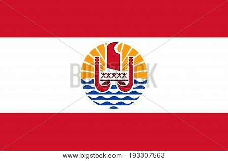 Flag of French Polynesia is an overseas collectivity of the French Republic. Vector illustration