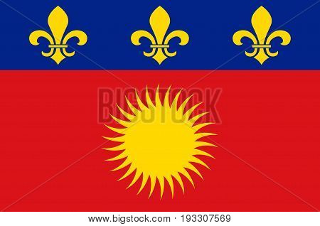 Flag of Basse-Terre is a French commune in the Guadaloupe department of France in the Lesser Antilles. Vector illustration