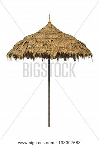 3D rendering of a straw umbrella isolated on white background