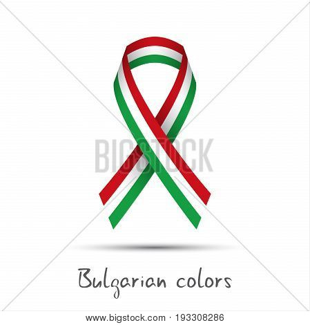 Modern colored vector ribbon with the Bulgarian tricolor isolated on white background abstract Bulgarian flag Made in Bulgaria logo