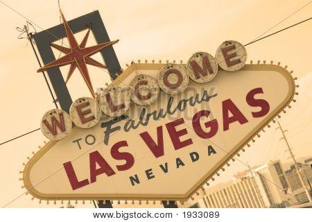 Las Vegas Sign Front Sepia