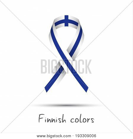 Modern colored vector ribbon with the Finnish colors isolated on white background abstract Finnish flag Made in Finland logo