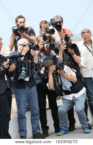 Photographers attend the 'The Merciless' photocall during the 70th annual Cannes Film Festival at Palais des Festivals on May 25, 2017 in Cannes, France.