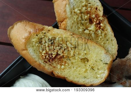 Close up of Garlic bread as side dish for main courses recipe.