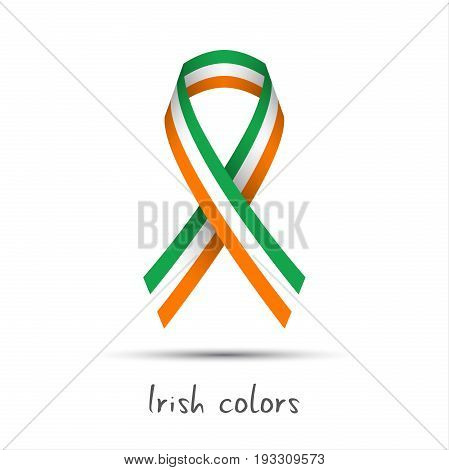 Modern colored vector ribbon with the Irish tricolor isolated on white background abstract Irish flag Made in Ireland logo