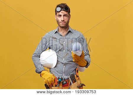 Manual Work, Maintenance, Occupation Concept. Dirty Mechanic Man Wearing Goggles On Head, Protective