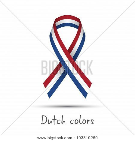 Modern colored vector ribbon with the Dutch tricolor isolated on white background abstract Netherlandish flag Made in Netherlands or Holland logo