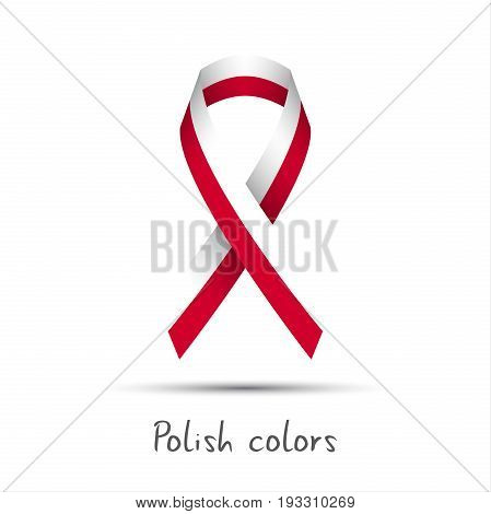 Modern colored vector ribbon with the Polish colors isolated on white background abstract Polish flag Made in Poland logo