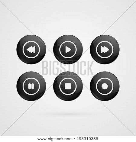 Vector buttons symbols. Black and white glossy play stop rewind forward pause record grey signs isolated. Illustration icons for audio video player