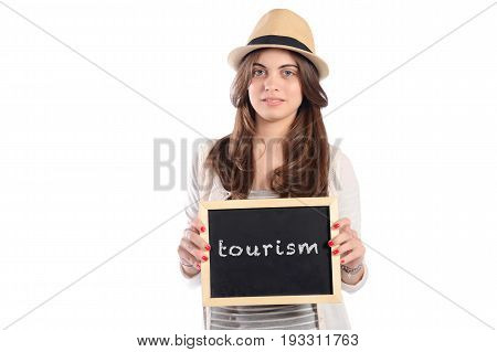 Woman Holding Chalkboard With